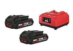 SKIL Batteries ('20V Max' (18V) 2,0Ah 'Keep Cool™' Li-Ion) and charger